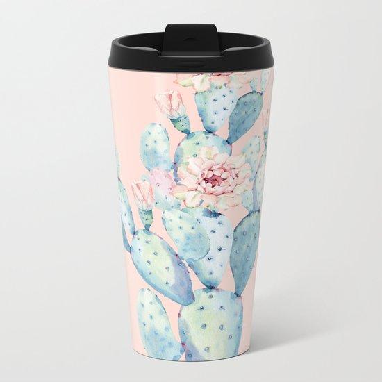 Rose Desert Cactus on Pink by Nature Magick Metal Travel Mug