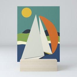 mid century sails Mini Art Print