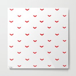 Red small hearts pattern Metal Print