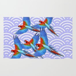 MODERN ART BLUE & RED TROPICAL MACAWS IN FLIGHT ART f Rug