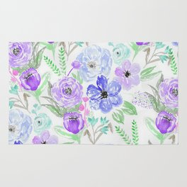 Hand painted lavender lilac blue watercolor flowers Rug