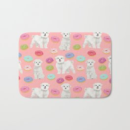 Maltese donuts dog breed funny pet lover dog person pattern print by pet friendly Bath Mat