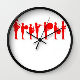 Marching band red Wall Clock