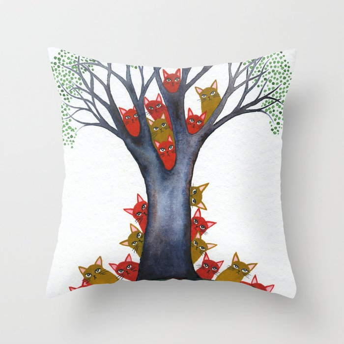 Sarasota Whimsical Cats in Tree Throw Pillow