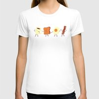 gray pattern T-shirts featuring Let's All Go And Have Breakfast by Teo Zirinis