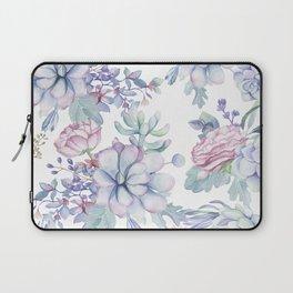 Pretty Blue Pink Succulents Garden Laptop Sleeve