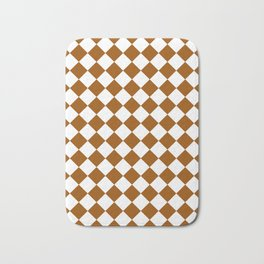 Diamonds - White and Brown Bath Mat