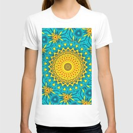 Birds of Paradise Circular Geometric Blended Floral Pattern \\ Yellow Green Blue Teal Color Scheme T-shirt