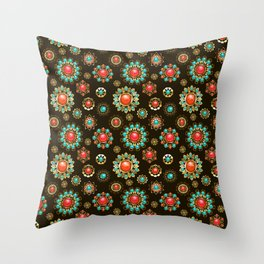 Ethnic Brooches Seamless Pattern Throw Pillow