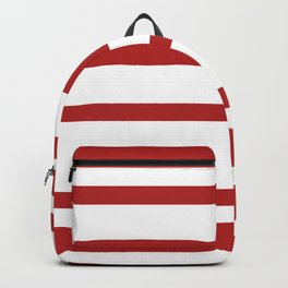 Mixed Horizontal Stripes - White and Firebrick Red Backpack