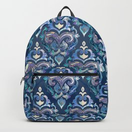 Persian Floral pattern blue and silver Backpack