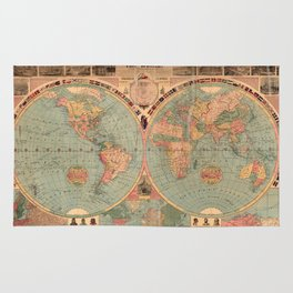 Vintage Map of The World (1883) Rug