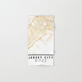 JERSEY CITY NEW JERSEY STREET MAP ART Hand & Bath Towel