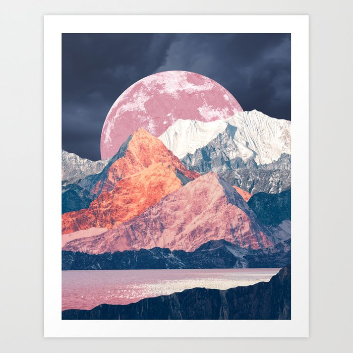 Pink Moon Rising Art Print