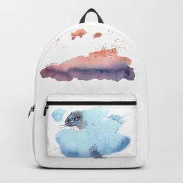 Cloud fish the Boogie Man - Fantasy Worlds - Watercolor Backpack
