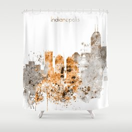 Indianapolis Warm Color Skyline Shower Curtain