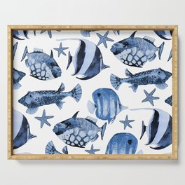 Fish Underwater Watercolor Pattern Serving Tray