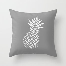 Grey Pineapple Paradise Throw Pillow