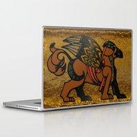 mythology Laptop & iPad Skins featuring Gryphon New Age Mythology Folk Art by BohemianBound