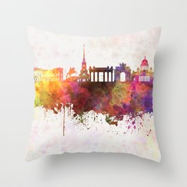 Saint Petersburg skyline in watercolor background Throw Pillow
