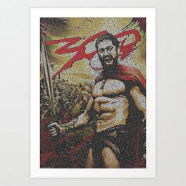 Text Portrait of Leonidas with full script of movie 300 Art Print