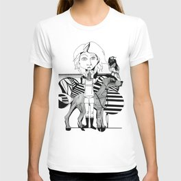 the girl, her dog and a bird T-shirt