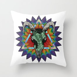 Skull of a bull on a colorful paint texture. Vector boho chic illustration for a poster, postcard, t Throw Pillow