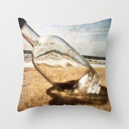Bottle On Beach II Throw Pillow