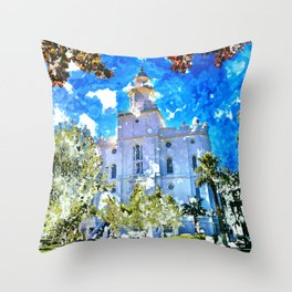 St. George LDS Temple Watercolor - Gold Lining Throw Pillow
