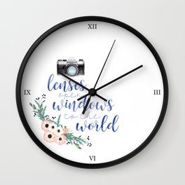 Lenses Open Windows to the World Wall Clock