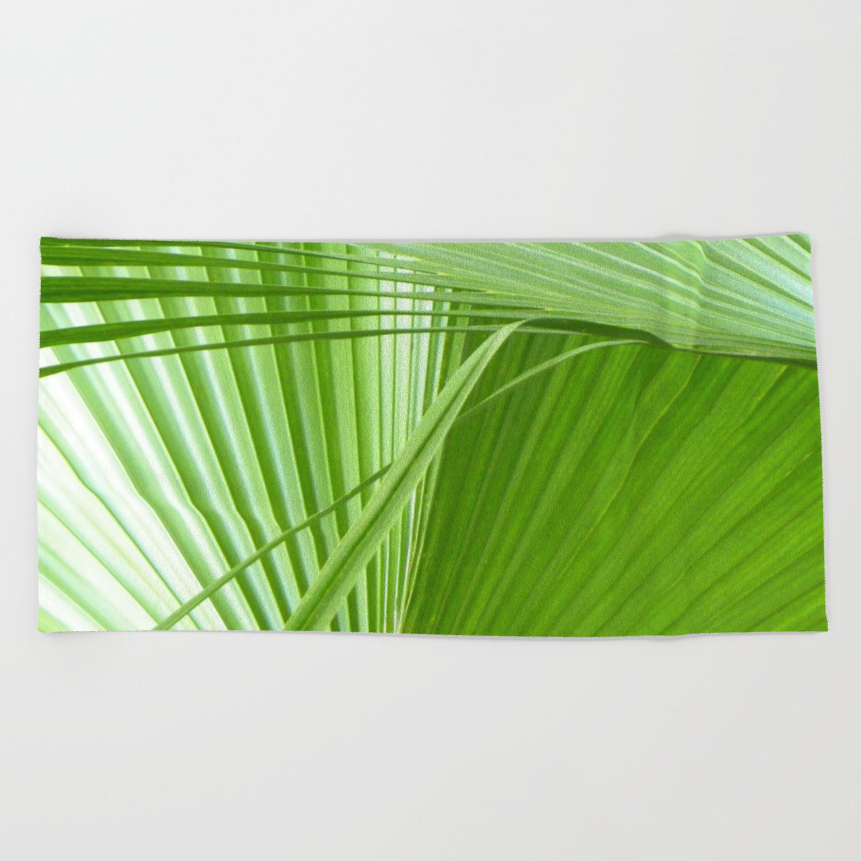 Palm Leaves Tropical Wall Art Beach Cottage Decor Coastal Art Beach Towel