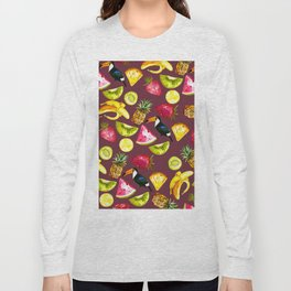 Burgundy yellow pink watercolor tropical bird fruit Long Sleeve T-shirt