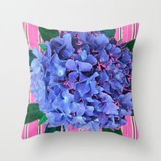BLUE ABSTRACTED HYDRANGEA YELLOW-PINK Throw Pillow