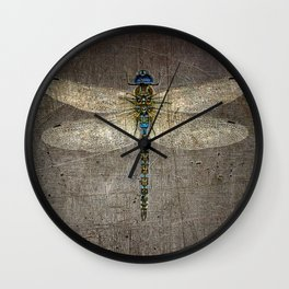 Dragonfly On Distressed Metallic Grey Background Wall Clock