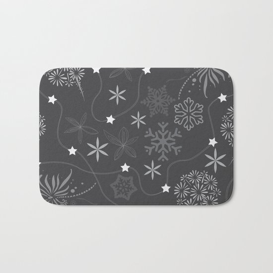 Stars on a string with snowflake and fireworks Bath Mat