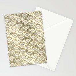 Festive, Art Deco, Wave, Pattern, Gold Stationery Cards