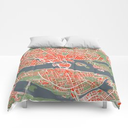 Stockholm city map classic Comforters