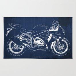 23-2013 Suzuki GSX-R1000 BLUE, Motorcycle blueprint Rug