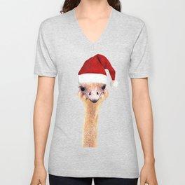 Ostrich Christmas Unisex V-Neck