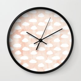 Coral clouds Wall Clock