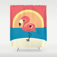 flamingo Shower Curtains featuring Flamingo by Steph Dillon