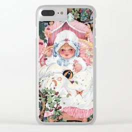 Happy baby on the treetop Clear iPhone Case