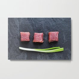 Three cubes of meat and green onions Metal Print