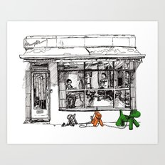 The Barber on Camden Passage Art Print
