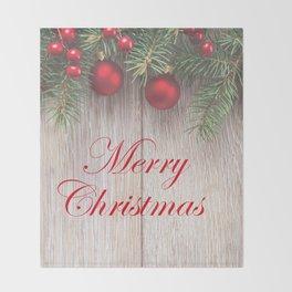 Merry Christmas Garland, Berries & Ornaments on Weathered Wood Throw Blanket