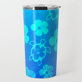 Blue Hawaiian Honu And Tropical Flowers Travel Mug