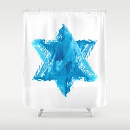 Star of David Blue Watercolor Shower Curtain