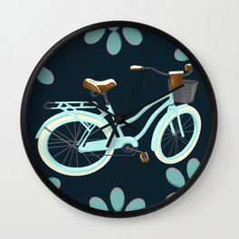 My Bike Floral Wall Clock