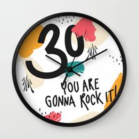 30 rock Wall Clocks featuring 30 you are gonna rock it! by Urban Emotions
