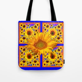 YELLOW SUNFLOWERS BLUE ART PATTERN Tote Bag
